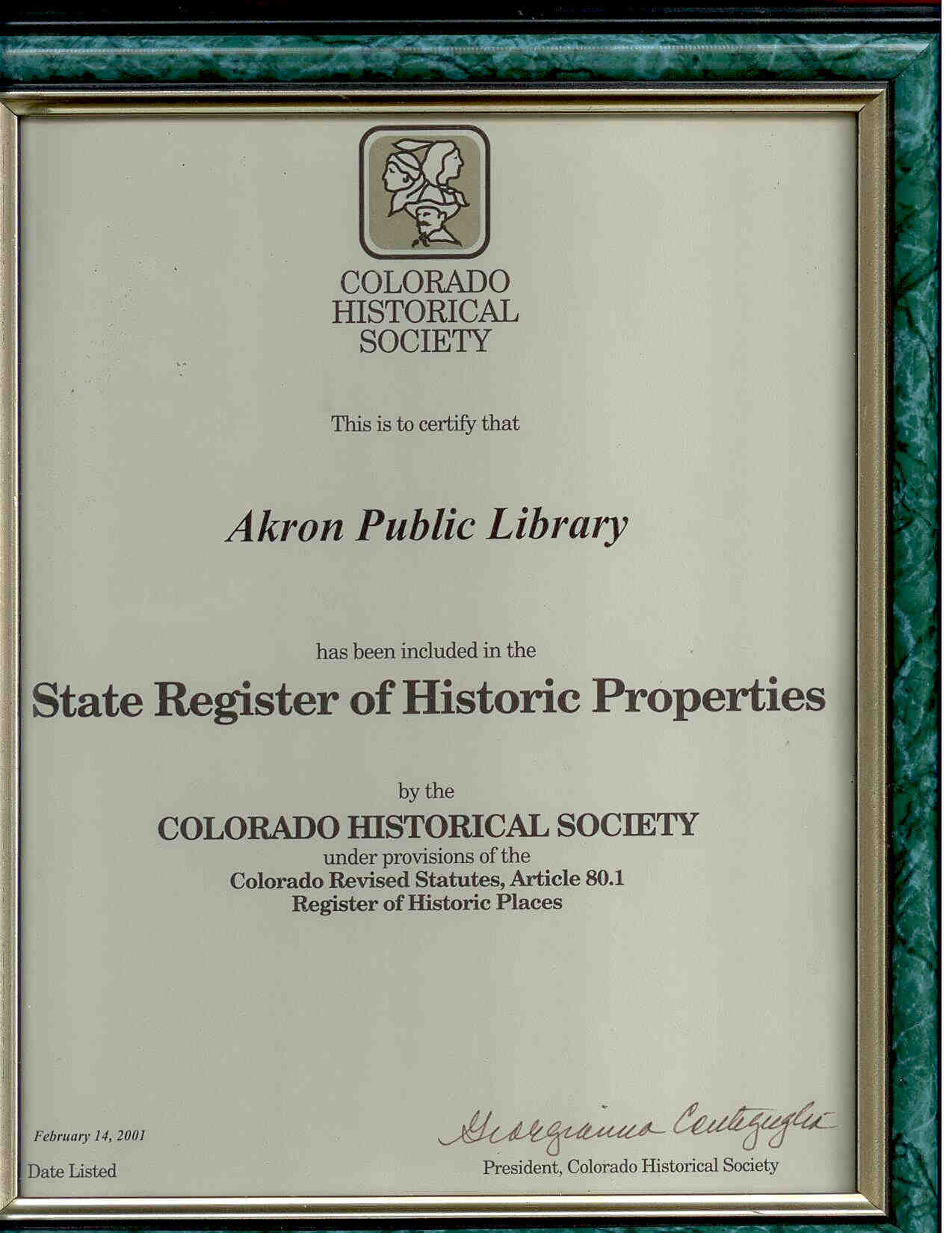 framed certificate of building's addition to state register of historic places
